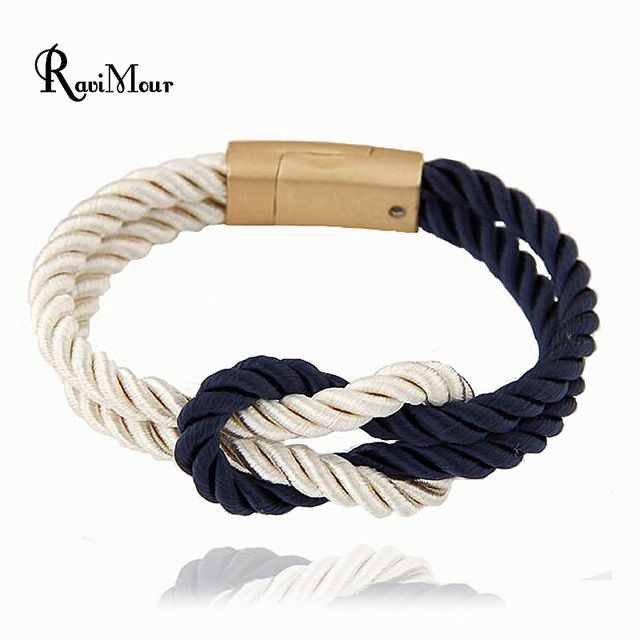 Магнитный браслет манжеты для Для женщин Для мужчин Модные украшения ручной работы веревки pulseiras Бесконечность Браслеты Mujer 2017