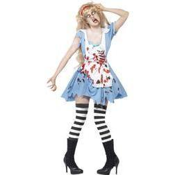 Estarás en el país de las tinieblas con este siniestro disfraz de Alicia, serás una zombie muy temida.