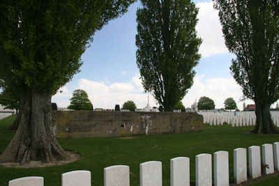 The Tyne Cot Commonwealth Cemetery contains two large concrete bunkers which once formed a part of the German defensive line on the ridge at Passchendaele.