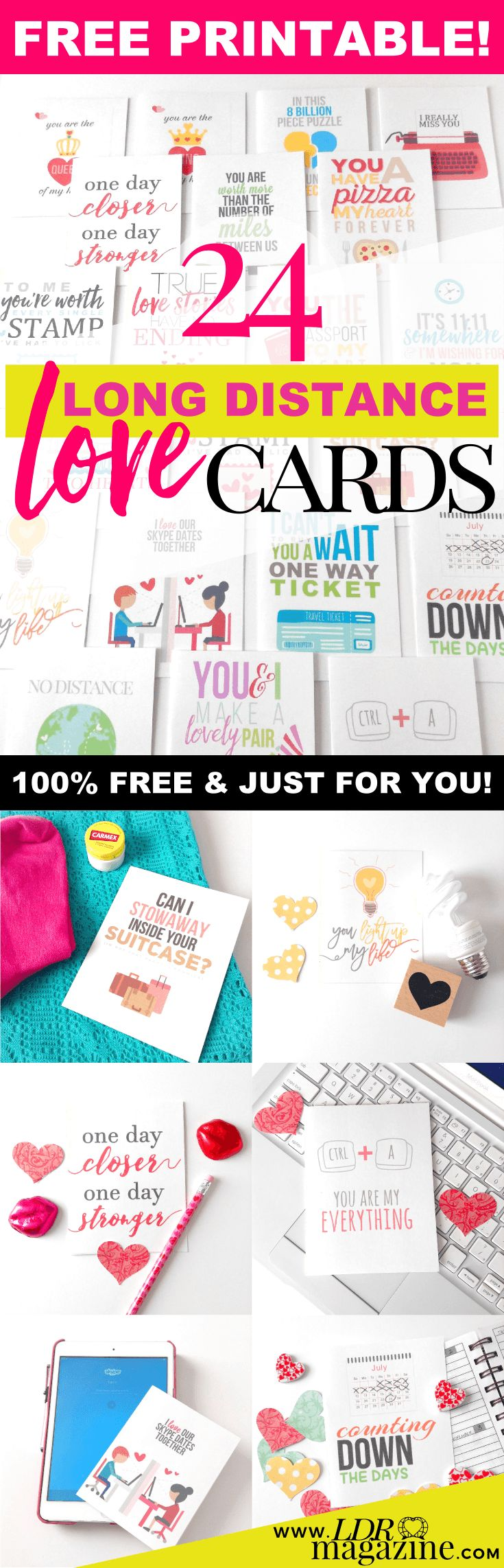 24 Free Printable Long Distance Love Cards - LDR Magazine
