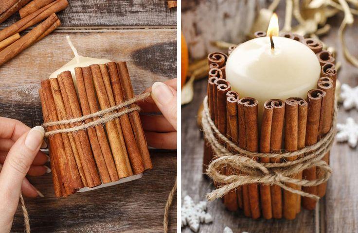 Für eure Tischdeko zur Winterhochzeit haben wir eine einfache Anleitung zum Selbermachen: Eine Stumpenkerze umwickelt mit Zimtstangen!