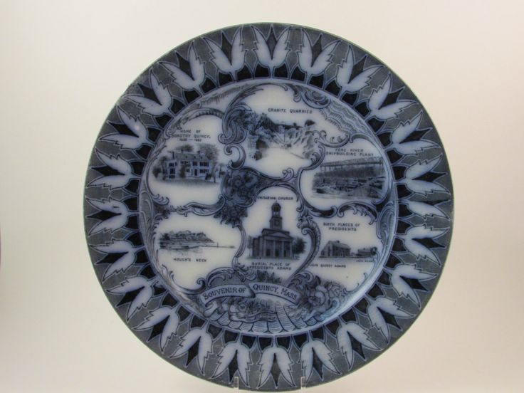 Vintage Quincy Massachusetts Plate Collectible Souvenir Flow Blue English Staffordshire Antique Collectible A great flow blue antique collectible souvenir plate from Quincy, Massachusetts. Features th