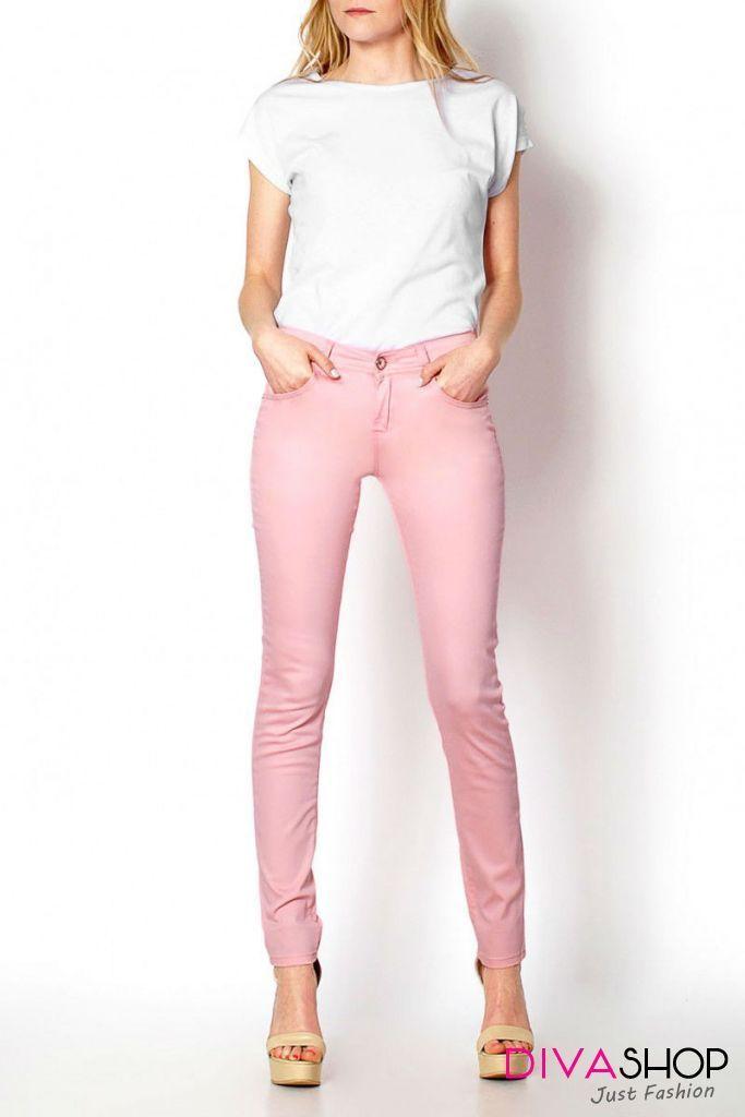 Pantaloni Skinny in culori pastelate