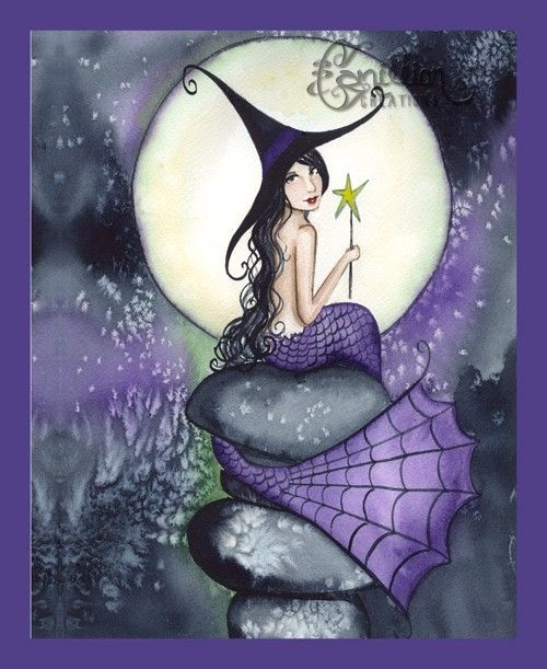 Mermaid Witch with Moon from Original Watercolor Painting by Camille Grimshaw