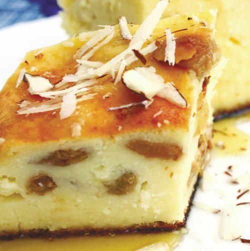 Plăcintă cu brânză dulce şi stafide