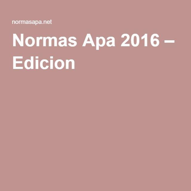 Normas Apa 2016 – Edicion 6