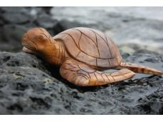 "Carved Hawaiian Turtle Honu 12"" Natural - Hand Carved"