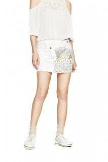 Desigual bílá džínová sukně Exotic White Skirt s flitry - 1539 Kč