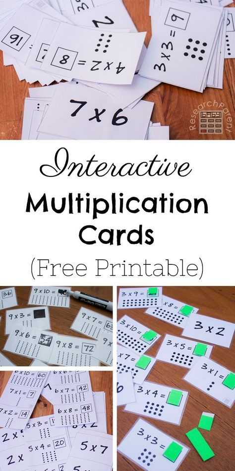 Free, printable interactive multiplication flashcards make memorizing math facts fun. Flaps and whiteboard markers make learning the multiplication tables more enjoyable for kids. Includes 2x1 through 9x10. via @researchparent