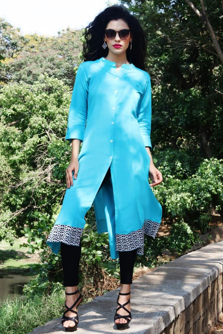 #Lalgulal Sky Blue Fluidic #Linen Fancy Readymade #Indo-#Western Kurti. Buy Now :- http://goo.gl/i7uolW To Order you Call or #Whatsapp us on +91-95121-50402.  #COD & #FreeShipping Available only in India.