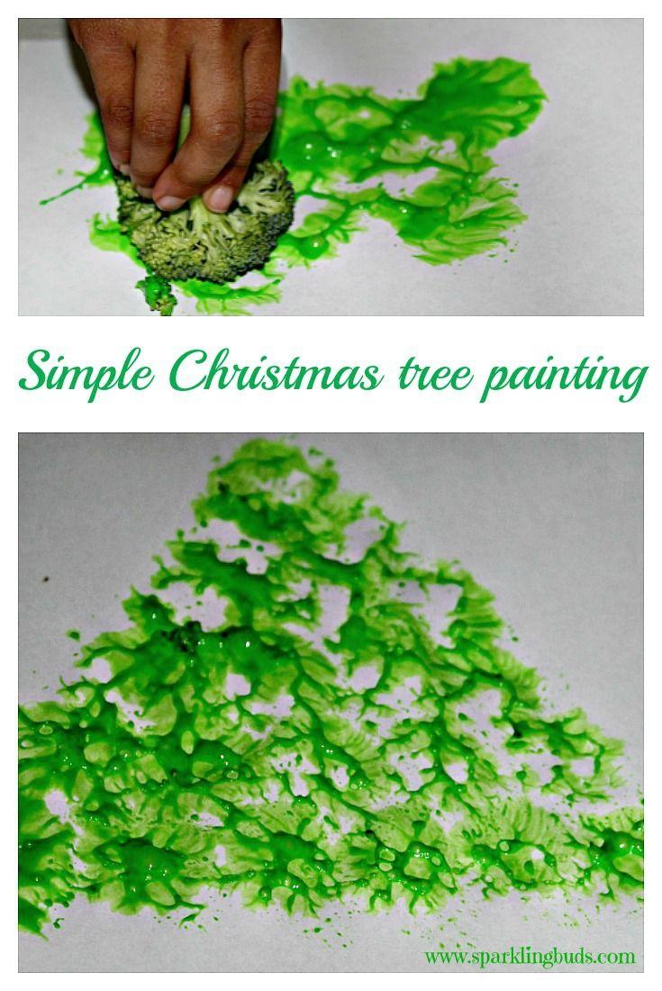 A Christmas tree made using a Broccoli floret