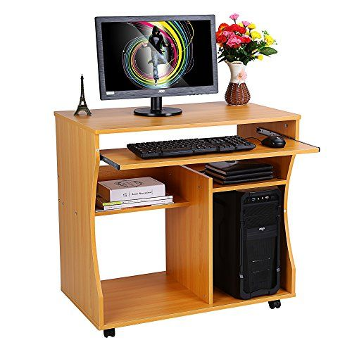 Wooden Portable Computer Trolley Desk Keyboard Storage Shelves with Castor Wheels, Home/Office PC/Laptop Workstation/Table, 31.5'' x 18.9'' x 29.9''