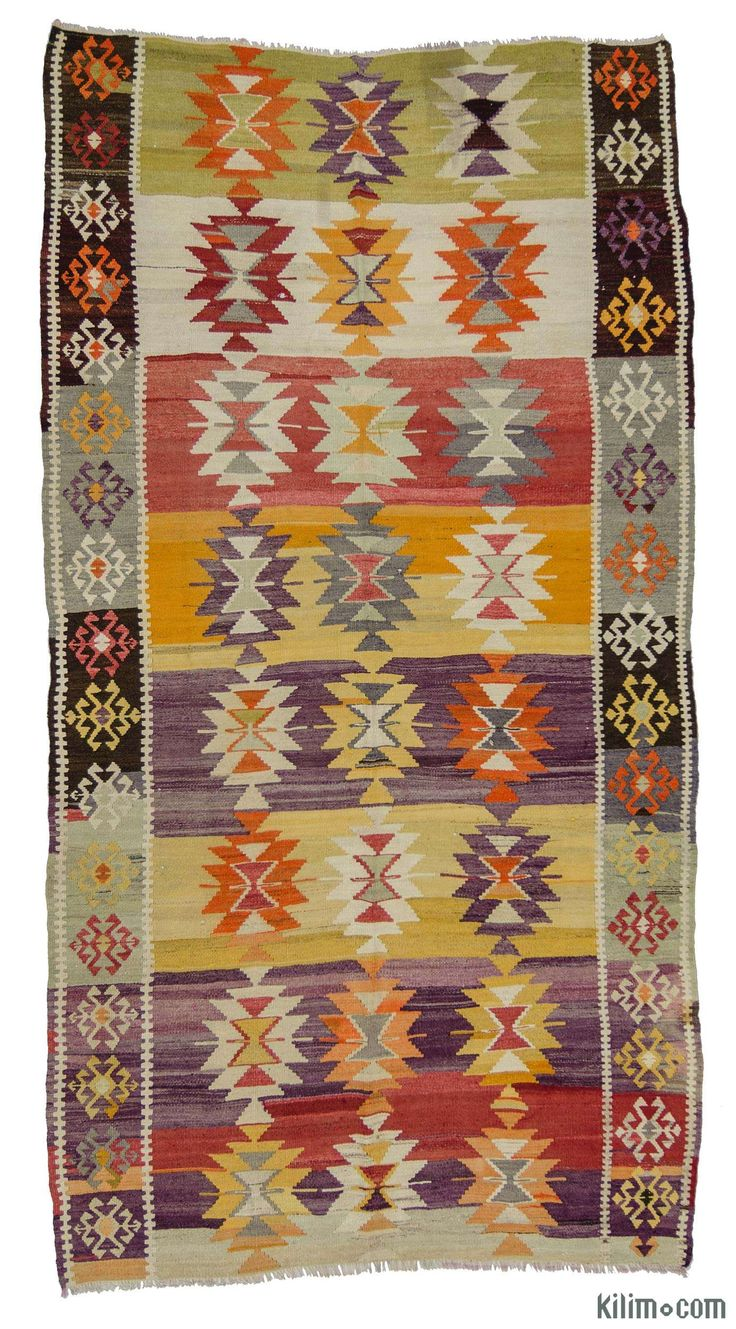 Vintage Afyon Kilim Rug around 60 years old and in very good condition. Afyon is located in the Aegean region of Turkey. Available for US only.