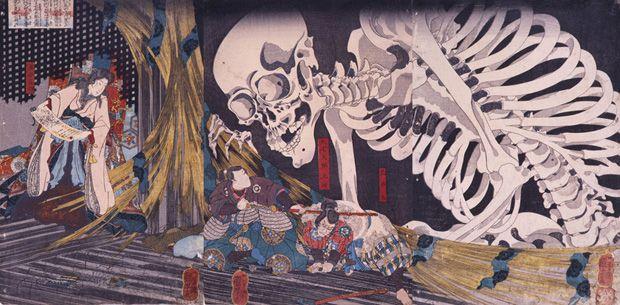 歌川国芳 「相馬の古内裏」 大判錦絵3枚続/名古屋市博物館(高木繁コレクション)蔵