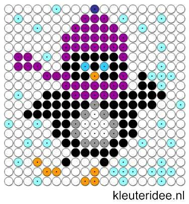 Kralenplank pinguin 6, kleuteridee.nl , thema Noordpool & Zuidpool  , free printable  Beads patterns preschool.