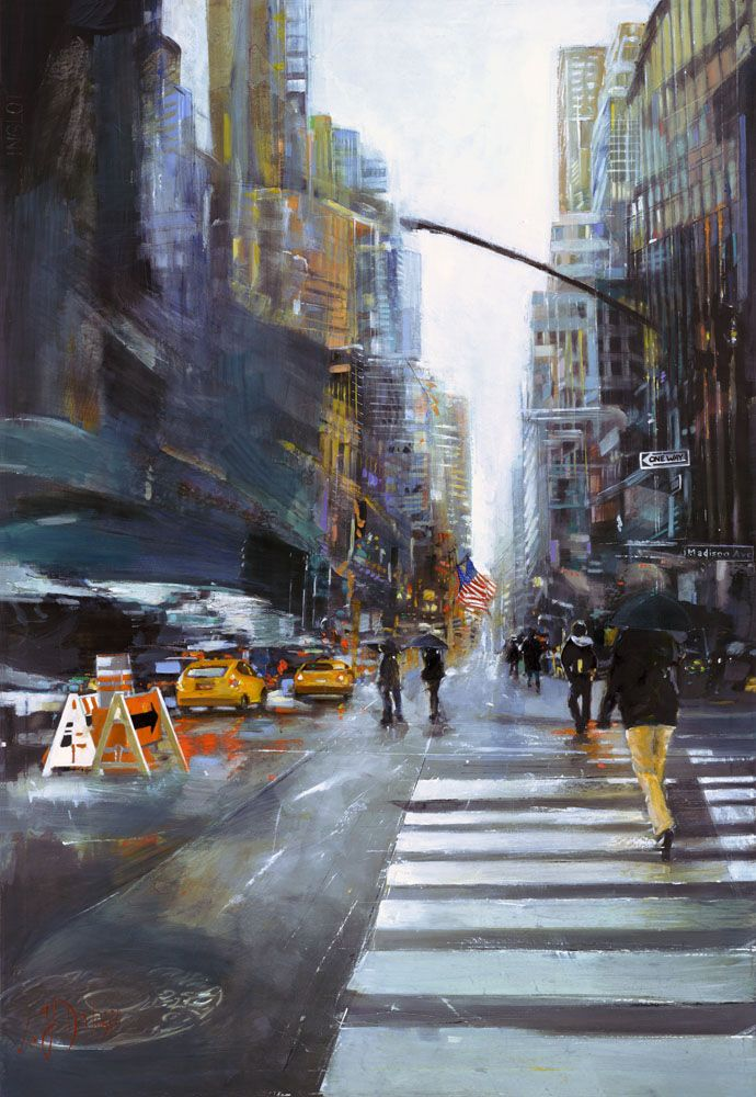 """""""Madison Ave"""" Original by Lucette & Judith Dalozzo Acrylic/Collage on Canvas 95 x 130cm Limited Edition Giclee Canvas Prints also available."""