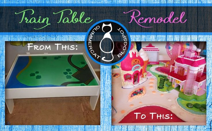 Train table remodel:  Could be done with Littlest Pet Shop, Squinkies, Calico Critters, or whatever!  Fun ideas on here. Remember to cover it all with ModPodge!