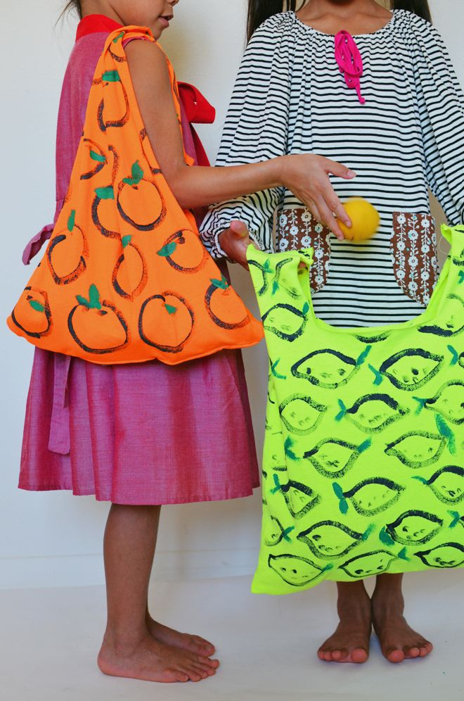 diy: t-shirt market bag by CAKIES. RED DRESS by Misha Lulu. STRIPE DRESS by Buckleberry