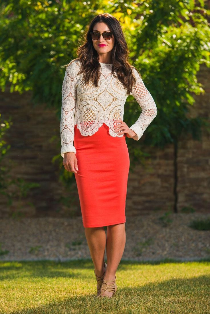 Classic Coral Pencil Skirt