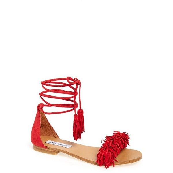 Women's Steve Madden 'Sweetyy' Lace-Up Sandal ($80) ❤ liked on Polyvore featuring shoes, sandals, red suede, red sandals, strap sandals, red fringe sandals, strappy flat sandals and fringe flat sandals