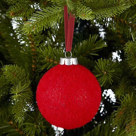 john lewis flocked red glass bauble online at