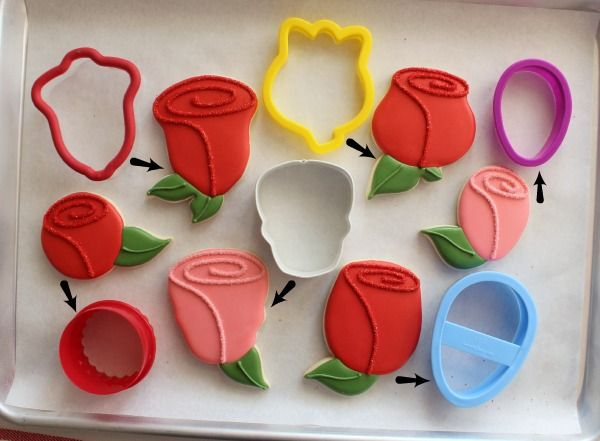 How to make rose cookies with common cutters-bell, tulip, egg, skull, and circle