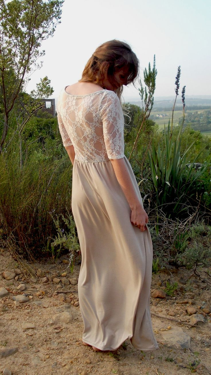 The Kiba dress by robyn-anne designs  beige and white