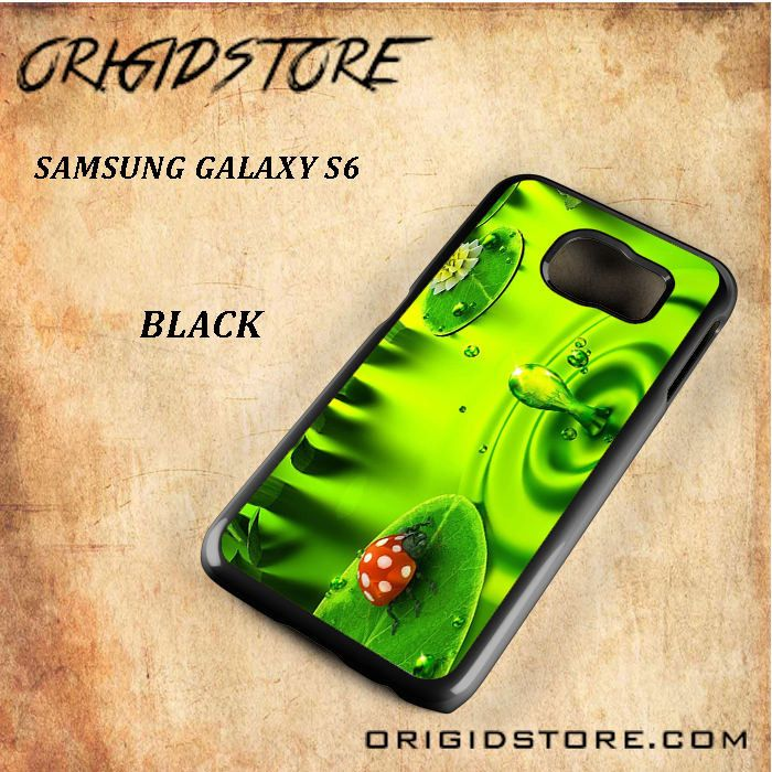 Ladybug in Green Scane Water Ripples Black White Snap On 3D For Samsung Galaxy S6 Case