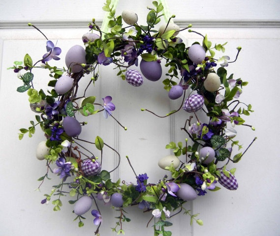 Easter Wreath Easter Dressed In Purple by forevermore1 on Etsy, $55.00