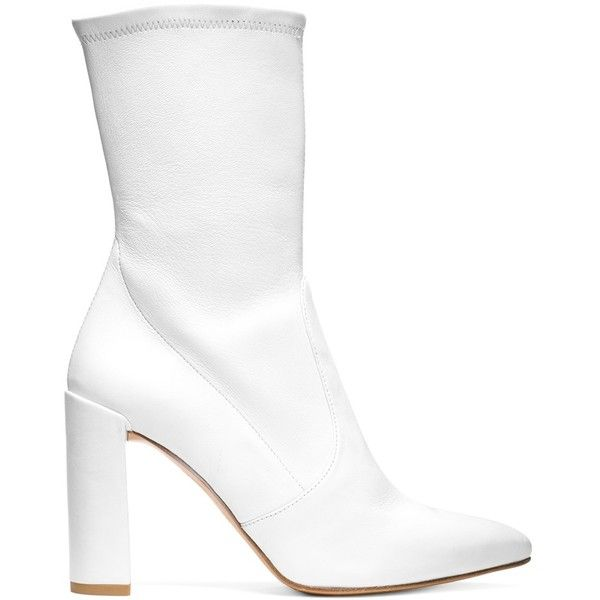 Stuart Weitzman THE CLINGER BOOTIE ($598) ❤ liked on Polyvore featuring shoes, boots, ankle booties, pointed-toe boots, mid calf booties, block heel ankle boots, stuart weitzman boots and pointed toe ankle boots