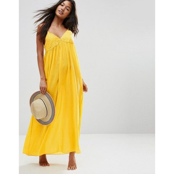 ASOS Lace Cup Babydoll Maxi Beach Dress (3,695 INR) ❤ liked on Polyvore featuring dresses, yellow, yellow maxi dress, v neck lace dress, yellow lace dress, baby doll dress and yellow dresses