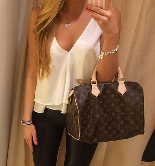Spring Outfit - Silk Top - Leather Leggings