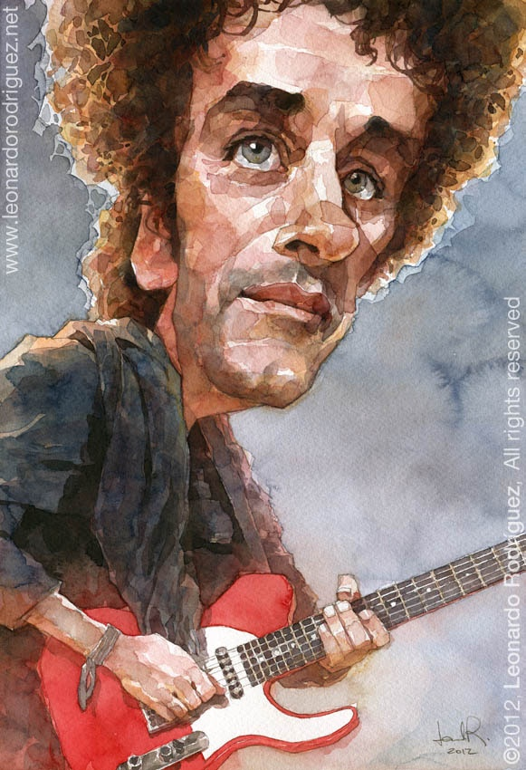 Gustavo Cerati  by Leonardo Rodriguez  Technique: watercolor  Dimensions: 36 x 25 cmts