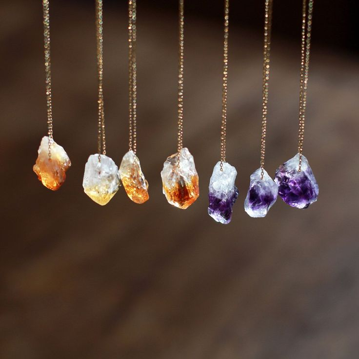 Raw Gemstone Necklace, Raw Citrine Necklace, Raw Amethyst Necklace, Crystal Nugget, Boho Style, Rough Gemstone Jewelry, Crystal Point by ShopClementine on Etsy