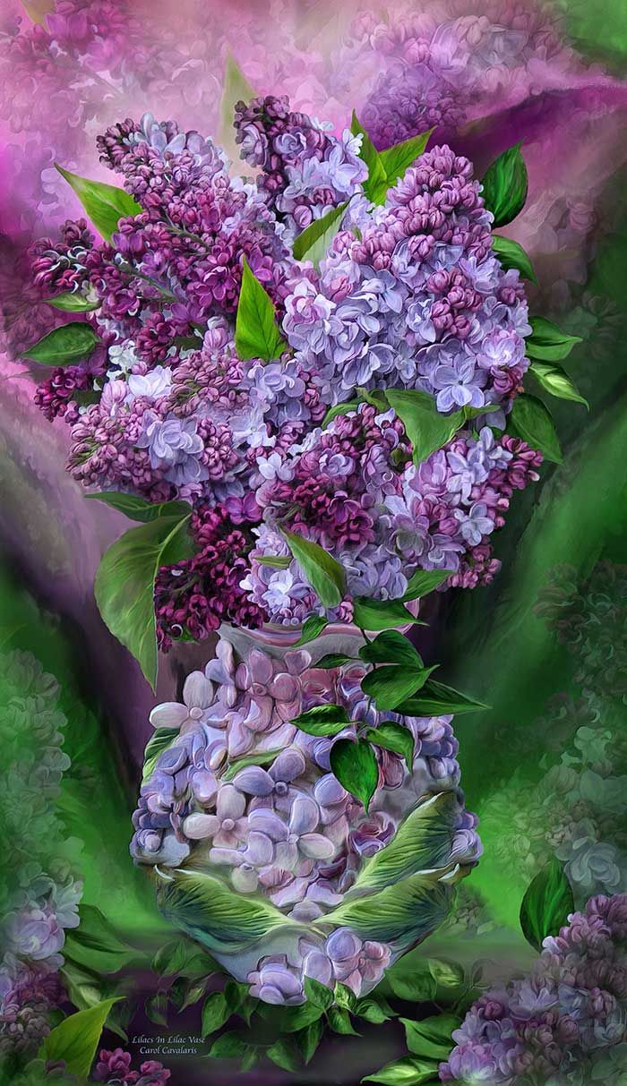 Lilacs In Lilac Vase  By Carol Cavalaris  Lilac bouquet You bring All the feelings And sweet joy Of new love Blossoming on a spring day I want you to bloom forever And never go away.  Lilacs In Lilac Vase prose by Carol Cavalaris ©