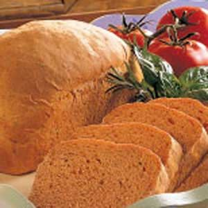 Tomato Bread Recipe -I enjoy making homemade bread with this recipe. When I make toasted cheese sandwiches with this bread, it's just like eating pizza.