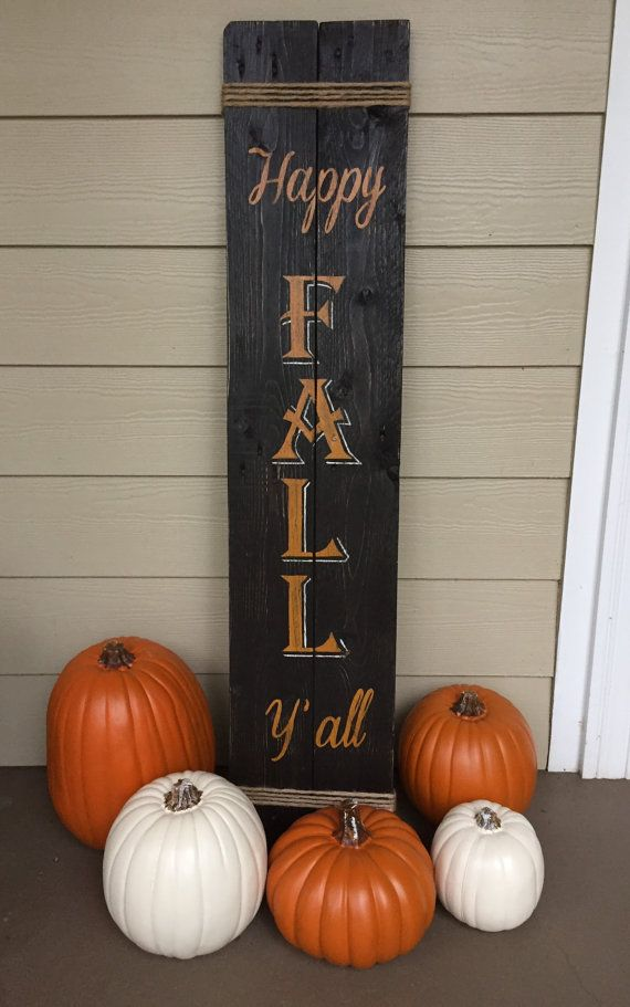 This is a two-in-one porch sign perfect for your fall and winter display. One side displays HAPPY FALL YALL in honor of my Tennessee friends and the other side displays JOY which describes our hearts/home because of knowing Jesus Christ as our Lord and Savior. Sign is made from either two or three reclaimed wood boards. Each side is stained in Espresso Brown with the JOY side antiqued in white, and hand painted in colors of harvest gold, white, and merry red. The ends of the sign are wrapped…