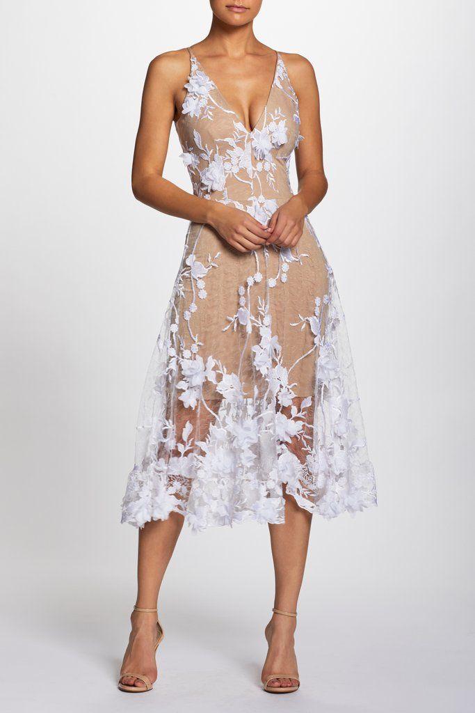 Audrey 3d Lace Fit And Flare Midi Dress Clothes Dresses Fit