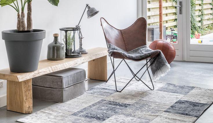 #vloerkleed #patchwork #sfeervol #relaxte stoel leder #bijzet bank #decoratie