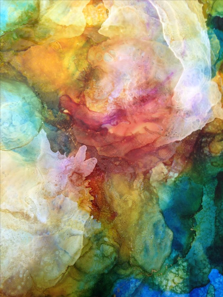 Abstract alcohol ink on acetate by Lin Crocco. Emerging
