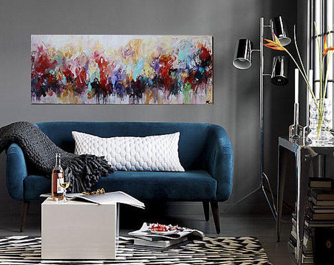 pintura sobre lienzo, arte de la pared, arte de la lona, sala deco, moderno abstracto y original painting,red.pulple