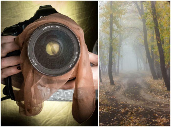 Надев тонкий капроновый чулок на объектив фотоаппарата, можно получить оригинальные снимки с эффектом тумана. Такую хитрость обязательно стоит взять на заметку всем начинающим фотографам и любителям экспериментов.