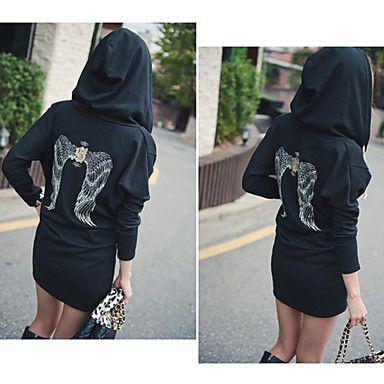 Women's Wing Print Bodycon Hoodie - USD $ 16.19