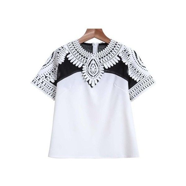 SheIn(sheinside) White Short Sleeve Floral Crochet Crop T-Shirt ($25) ❤ liked on Polyvore featuring tops, t-shirts, shirts, sheinside, blusas, white, white crop top, short sleeve t shirt, round neck t shirt and polyester t shirts