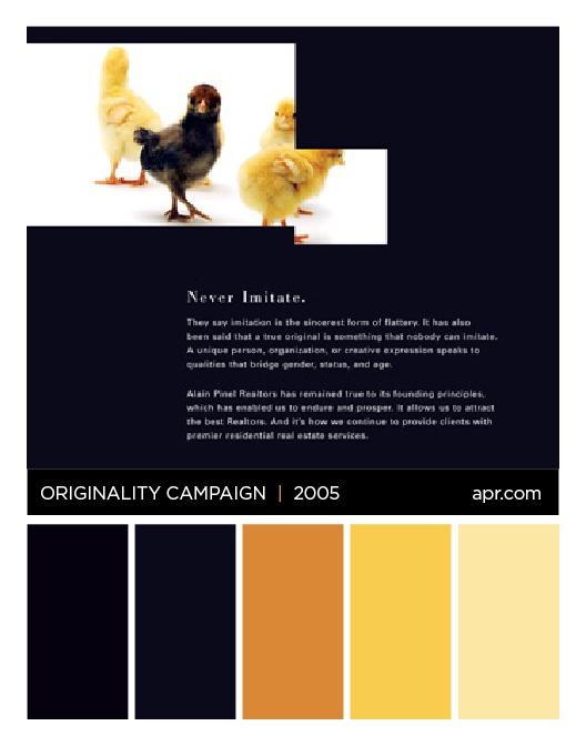 Originality campaign chicks color palette.