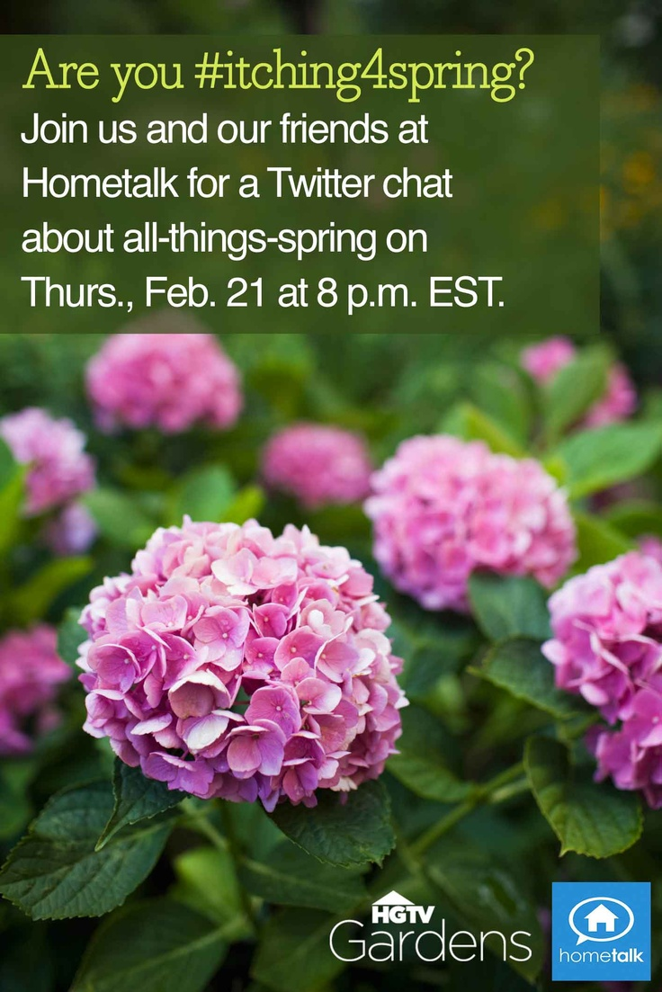 Are you #itching4spring? We are! We'll be chatting on Twitter with our friends at @Hometalk next Thursday. Save the date and RSVP! --> http://blog.hometalk.com/rsvp-hometalk-hgtv-twitter-chat/