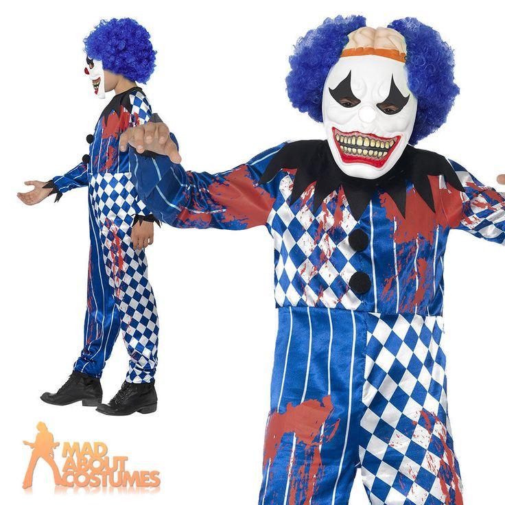 Boys Sinister Clown Costume Halloween Fancy Dress Evil Psycho Jester Outfit