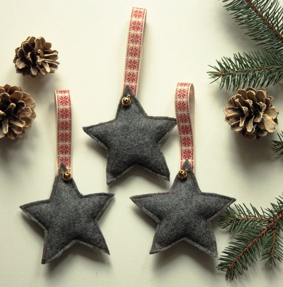 Felt star with golden bell Set of 3 by CreamKnit on Etsy