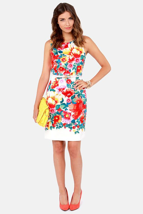 Be the brightest one in the office! A floral dress is super cute and appropriate in this silhouette