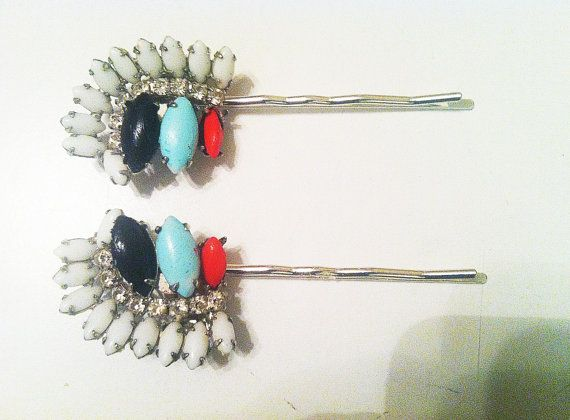 Vintage Navajo Inspired Milk Glass Bobbies.Bobby Pin